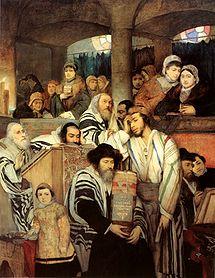 Judíos rezando en la sinagoga