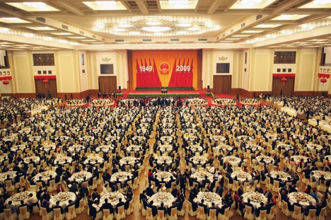 A banquet is held marking China's 60th anniversary on Wednesday, Sept. 30, 2009, at the Great Hall of the People in Beijing, China. (AP Photo/Feng Li, Pool)