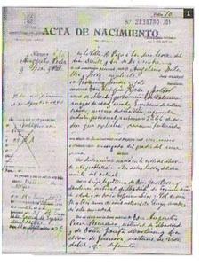 Acta de nacimiento de Augusto Pérez Lías, quien vino al mundo un 20 de diciembre de 1.909 en Pego. Arxiu Municipal de Pego