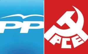 Logos del PP y del PCE.
