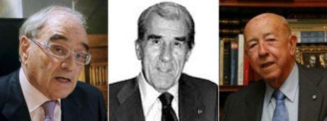 De izquierda a derecha: Martín Villa, Fernando Suárez y José Utrera Molina