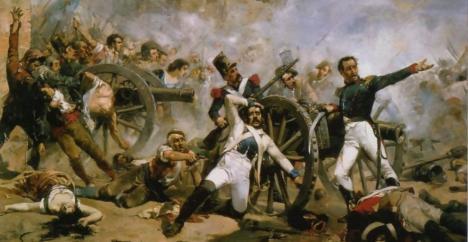 Muerte de Pedro Velarde y Santillán durante la defensa del Parque de artillería de Monteleón. 1884