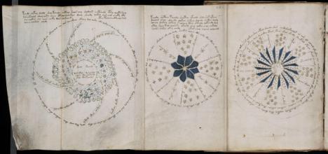 Páginas de la sección de cosmología del manuscrito Voynich. Leer más:  El misterioso libro escrito hace 600 años en una indescifrable lengua: nuevos datos - Noticias de Alma, Corazón, Vida  http://bit.ly/JYx5J7