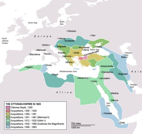 Expansión del Imperio otomano.