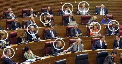 Imputados por corrupción en el PP de las Cortes Valencianas. / CARLES FRANCESC