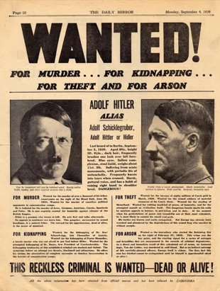 "The Daily Mirror publicó un cartel con Hitler de ""Se busca, vivo o muerto"" (British Library)"