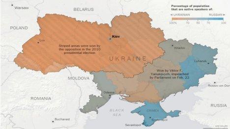 La zona naranja es prooccidental, la azul es prorrusa. Las barras indican la franja donde ganó la oposición en las elecciones de 2010. El resto apoyó a Yanukovich, destituido el 22 de febrero. Crédito: nytimes.com
