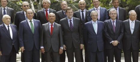 Rajoy, en marzo, durante un almuerzo con grandes empresarios españoles