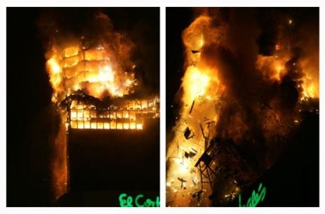 La parte superior del edificio se derrumbó poco después de la una de la madrugada.. Bernardo Pérez