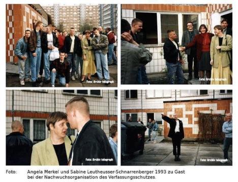 Ángela Dorothea Merkel, que acompañada de la que hoy es su ministra de justicia, Sabine Leutheusser-Schnarrenberger (jersey rojo), disfruta de unos gratos momentos durante su visita a un centro juvenil. Esta foto es de La Idea
