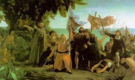 Primer desembarco de Cristóbal Colón en América, obra de Dióscoro Puebla. Dióscoro Teófilo Puebla Tolín (1831-1901) (by Rockger21) - Photo scan (Book:Historia del Arte). Wikipedia