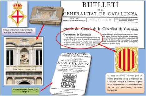 La Antigua Generalitat de Catalunya no utilizó el Señal Real de Aragón. El actual emblema es de 1931.